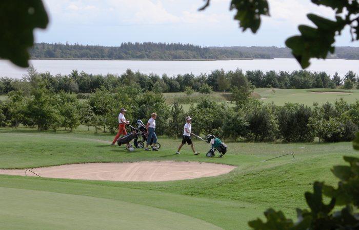 Endnu et veloverstået hul på den smukke golfbane ved Tange Sø.